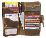 Travel Wallet Corno d´Oro Echt-Leder Herren Damen Organizer Reisebrieftasche Geldbörse Portemonnaie Portmonee Kredit-Kartenetui Herrentasche iPhone Hülle Case aus hochwertigem Leder braun LC23