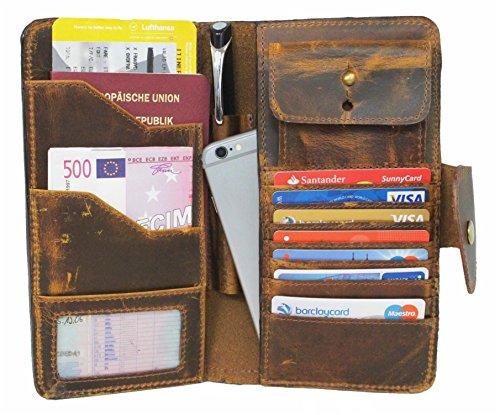 Travel Wallet Corno d´Oro Echt-Leder Herren Damen Organizer Reisebrieftasche Geldbörse Portemonnaie Portmonee Kredit-Kartenetui Herrentasche iPhone Hülle Case aus hochwertigem Leder braun LC23 (Wallet Damen-organizer)
