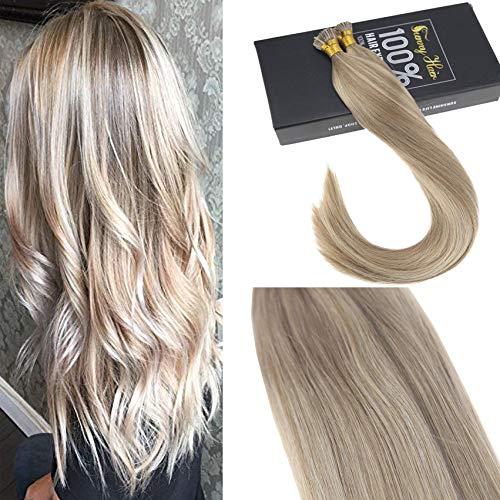 Sunny 22 pollici/55cm pre bonded capelli umani extensions biondi dorati highlights con bionda chiara i tip estensioni dei capelli naturali 1g/s 50g