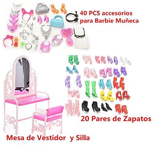37YIMU® 40 piezas joyería collar pendiente zapatos coronan accesorios 1 Set tocador silla 20 pares zapatos para muñecas Barbie