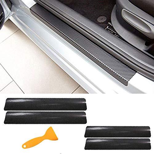 Auto Einstiegsleisten Aufkleber, 4 Stück 3D Karbonfaser Pedal Schwelle Carbon Faser Sill Scuff Schutz Kratzfeste Aufkleber für Auto Door Sill (Schwarz) -