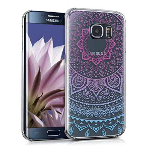 kwmobile Samsung Galaxy S6 Edge Hülle - Handyhülle für Samsung Galaxy S6 Edge - Handy Case in Blau Pink Transparent