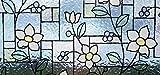 Fensterfolie Blumen GLS 4657 - Bleiglas Style LINEAFIX - Meterware bunte Glasdekorfolie Buntglas Fensterdeko - Sichtschutzfolie