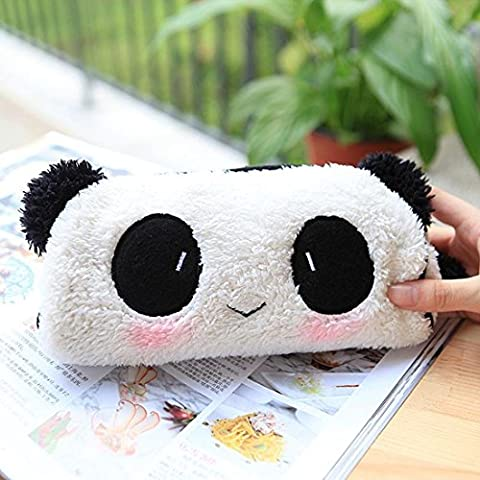 Cute Lovely Soft Plush Panda Pencil Pen Case Bag in Bag Cosmetic Makeup Bag Pouch by Longwithin