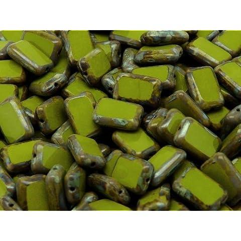 10pcs Ceco Perle di vetro, Tabella Cut, Rettangolo 12x8mm Green Travertine
