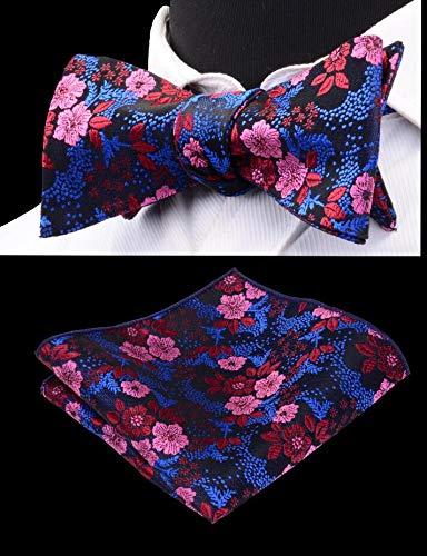 LLTYTE Floral Selbst Krawatte Fliegen Mit Taschentuch Set Für Männer Männer Selbst Bowtie Einstecktuch Rot Blau Schwarz Farbe Für Hochzeit Rote Paisley Bowties
