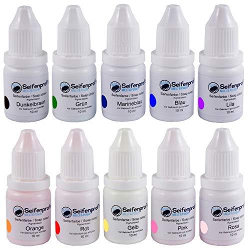 Seifenprofis 10er x 10ml PIGMENTBASIS Seifenfarben Set (Pipettenflasche) - Sortiment (Rot, Grün, Blau, Gelb, Rosa, Pink, Lila, Orange, Duneklbraun, Marineblau)