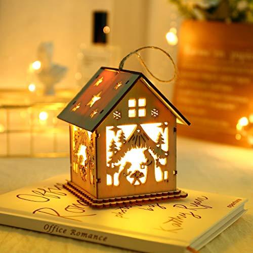 vijTIAN - Decorazione Natalizia a Forma di casetta illuminata a LED in Legno, Ideale Come Regalo per Feste, Matrimoni, Natale, Decorazione per la Port