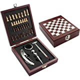 Vintage Wooden Chess Board Game Wine Gift Set with Wine Opener, Drip Collar, Bottle Stopper, Wine Thermometer and 32 miniature chess pieces by Flintstop
