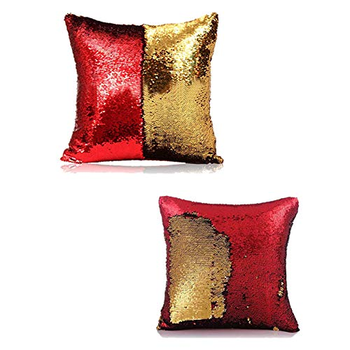 Kartik Cushion Cover 16x16 Set of 2 Sequin Mermaid Throw Pillow Cover with Color Changing Reversible Paulette Pillow case - Golden & Red