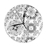 Hectwya Coloring Book Page Mandala of Living and Dying Silent & Non-Ticking Quartz Wall Clock PVC for Home Office School Clock 9.8