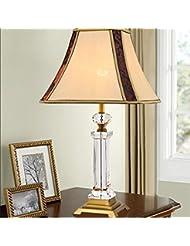 Crystal lámpara de mesa de cabecera del dormitorio de la tela lámpara de estudio moderna sala de estar (sin fuente de luz)