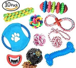 Crazy AL de® pour animal domestique Chien Jouets interactifs Animal domestique à mâcher jouet couineur dents de nettoyage Boule de coton corde Lot de 10Coffret cadeau pour chiot R10b (lot de 10)