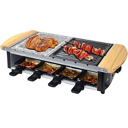 Syntrox Germany Edelstahl Design Raclette Uri mit Grill und Heißer Stein für 8 Personen