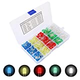 TOOHUI 500 Piezas Ronda Ultrabrillante LED Diodos Emisores, 5mm Diodo Emisor de Luces LED, Multicolor Emisores de LuzMulticolor Emisores de Luz, Blanco/Rojo/Amarillo/Verde/Azul