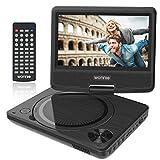 WONNIE 9.5' Lecteur DVD Portable écran Rotatif de 7,5' à 270°, Carte SD Prise USB Charge directe Formats/RMVB / AVI / MP3 / JPEG, Parfait Enfants (Noir)