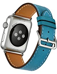 Apple Watch Correa, Wollpo®Cuero de la alta calidad Replacement Correa De Reloj Pulsera Watch Band De Reloj Replacement Strap watchband para 38mm Apple iWatch Reloj (Single Tour Azul 42mm)
