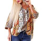 5 People! S Bluse Retro-Print Fischerhemd Oversize S/M