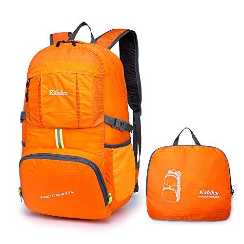 Bonamana Faltbarer Beutel-verpackbarer Rucksack-wasserdichte große Kapazität-leichte haltbare Spielraum-Beutel, der Rucksack-Tagesrucksack wandert (Orange) (Check Nylon-einkaufstasche)