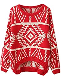 Y-BOA - Pull/Chandail Tricot Hiver à Manche Longue - Femmes - Coton -Motif Géométrique