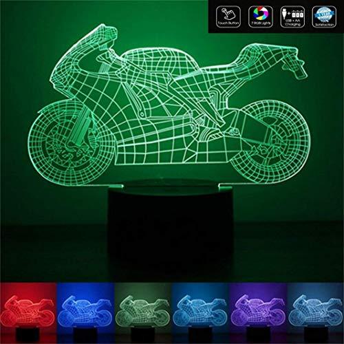 MOTOCICLETTA Idea regalo moto Lampada led 7 colori Compleanno onomastico Sport a batteria + cavo micro USB da tavolo o scrivania Decorazione della casa Night Light