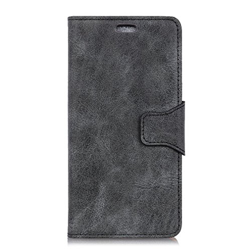 LMFULM® Hülle für Alcatel A7 XL 7071D (6 Zoll) PU Leder Magnet Brieftasche Lederhülle Retro Geschäft Design Stent-Funktion Tasche Handyhülle für Alcatel A7 XL Grau