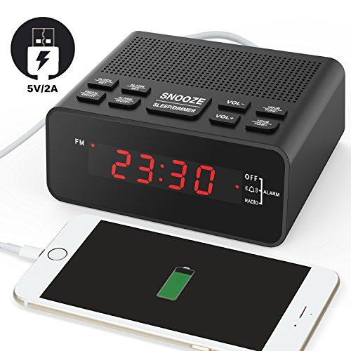 USB Funkuhr Wecker, Digitaler Radiowecker mit FM Radio, Sleep-Timer, Dimmer, Schlummertaste, 0,6 Zoll Digital LED-Display und Batterie-Backup-Funktion für Schlafzimmer, Büro, Tisch und Schreibtisch