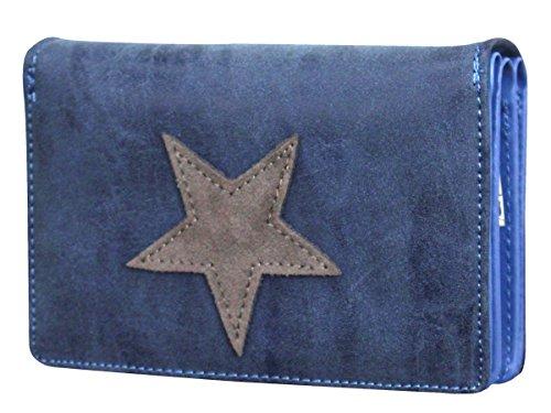 Blaue Damen Geldbörse (Damen Luxus Stern Geldbörse Geldbeutel Brieftasche Portemonnaie Damenbörse Börse Navyblau/Grau)