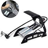 QZY Bike Car Dual-Zylinder-Fußpumpe mit Akkuratem Druckmessgerät & Smart Valves, Balten Aluminium Zylinder Hochdruck-Pedal Fleck 160psi