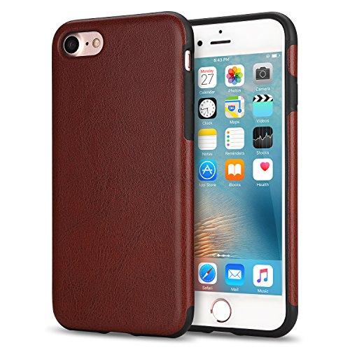 TENDLIN iPhone 7 Hülle / iPhone 8 Hülle Leder mit Flexiblem TPU Silikon Hybrid Weiche Schutzhülle für iPhone 7 und iPhone 8 (Schwarz) Braun