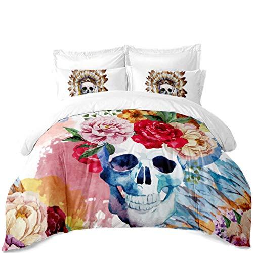 Flamingo Bohemian Serie Luxus Nordic Bettwäsche – Bettbezug und Kissenbezug, dreiteilige Bettwäsche (Bettbezug + 2 Kissenbezüge), feuchtigkeitsfest, antibakterielle, Hypoallergen, Single, Double Bed