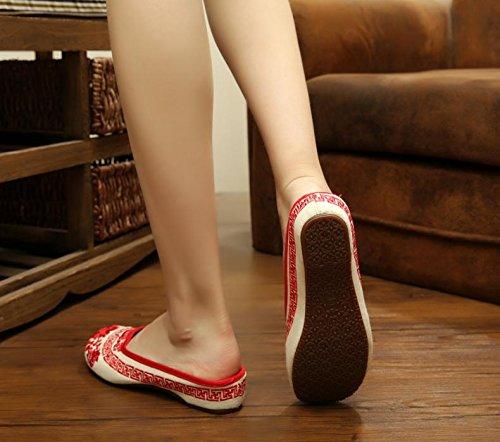 ZQ Blaues und weißes Porzellan Gestickte Schuhe, Sehnensohle, ethnischer Stil, weiblicher Flip Flop, Mode, bequem, Sandalen Red