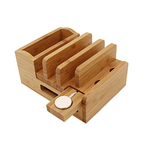 iCozzier Bamboo Ladestation Dock Desktop Organizer-Halterung für Apple Watch, iPhone, iPad und iWatch Stand Dockingstation für mehrere Geräte. USB-Ladegerät nicht im Lieferumfang enthalten Usb Desktop Dock