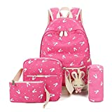 caveen 5pcs/set bolso de escuela color lienzo mochilas niños adolescentes gran capacidad bol...