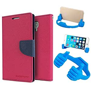 Aart Fancy Diary Card Wallet Flip Case Back Cover For Lenovo K4 note - (Pink) + Flexible Portable Mount Cradle Thumb Ok Stand Holder By Aart store