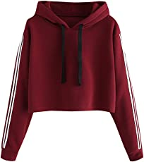 Saingace Hoodie for Women, Womens Striped Full Sleeve Hoodie Sweatshirt Hooded Crop Top Pullover Tops Blouse