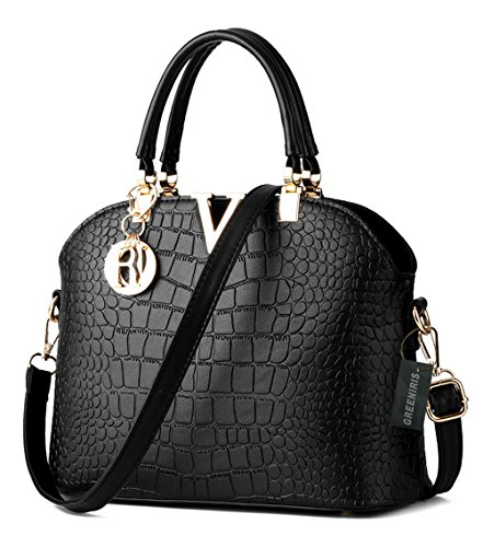 Greeniris donne unità di elaborazione della borsa di modo Tote Bag in pelle Faux per Lady Blu zaffiro Nero Aclaramiento Geniue Almacenista sMXWyl