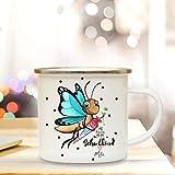ilka parey wandtattoo-welt Emaille Becher Einschulung Camping Tasse Schmetterling mit Schultüte Spruch Schulkind & Name Wunschname Kaffeetasse Geschenk eb205