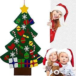 3ft árbol de Navidad de Fieltro Con 32 Adornos Desmontables Regalos de Navidad de año Nuevo Para los niños de Pared de Puerta Decoración Colgante