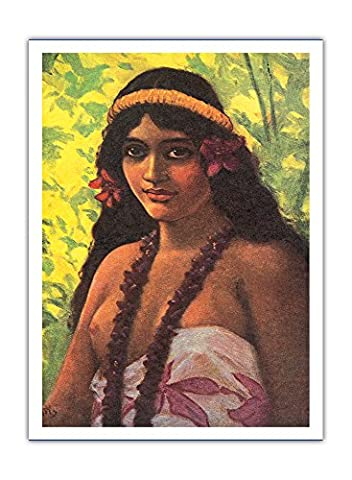 Pala, Mers Du Sud Seins Nus Fille Hawaïenne Indigène -