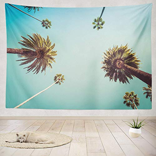 gthytjhv Tapisserie Decor Collection, Rodeo Hills Palm Trees Street Summer Bedroom Living Room Dorm Wall Hanging Tapestry Polyester & Polyester Blend -