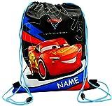 alles-meine GmbH Sportbeutel - Turnbeutel - Schuhbeutel _  Disney Cars / Lightning McQueen - Auto  - incl. Name - abwischbar & wasserabweisend - für Kinder - Schulbeutel Ki..