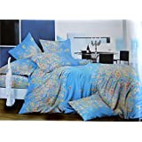 Sky Blue Flower Print Double Bedsheet With 2 Pillow Cover Packed In Bag/Gift Pack/diwali Gift/premium Quality