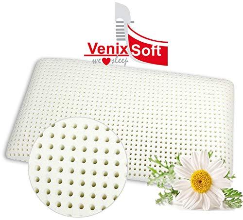 VENIXSOFT Oreiller ergonomique pour le lit à Mémoire de Forme, oreiller anti-cervical, transpiration maximale avec Housse en coton, 70x40x12 cm, fabriqué en Italie
