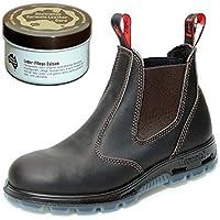 Redback USBOK Safety Work Boots aus Australien - mit Stahlkappe - Unisex + 250 ml Lederpflege   Claret Brown
