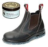 Redback USBOK Safety Work Boots aus Australien - mit Stahlkappe - Unisex + 250 ml Lederpflege | Claret Brown | UK 6.0/EU 39.0