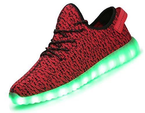 X-MOKE 7 colori alla moda, unisex, da uomo, donna, carica USB Scarpe luminosi luce LED lampeggiante Scarpe da camminata alto sopra LED calzature per lo sport, Scarpe da ginnastica (Rosso, 38EU)