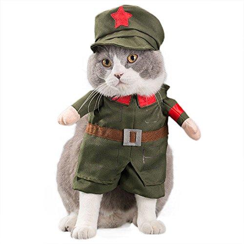 G-Like Hunde Katzen Haustier Kleidung Kostüm Süß Niedlich Puppy Miezen Jacken Gestaltwandel Bekleidung Hemden Kleider Anzüge Outfit für Halloween Weihnachten (M, Soldat)
