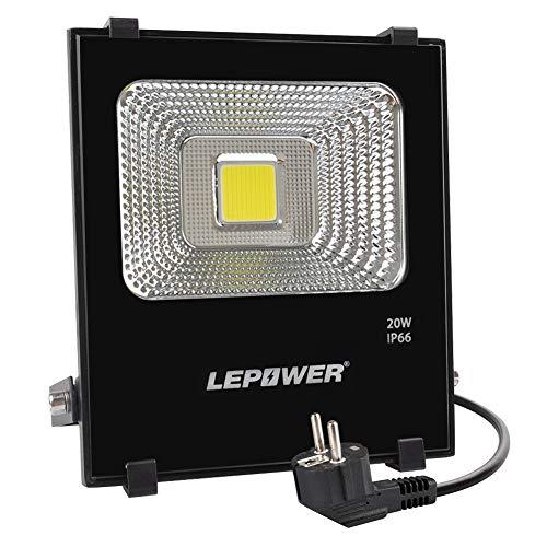 LEPOWER LED Fluter 20W, 6500K 1600lm Außenstrahler Flutlicht superhell IP66 wasserdichte Flut- & Spotbeleuchtung Außenleuchte mit Stromkabel und Stecker, Scheinwerfer, Tageslichtweiß