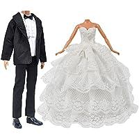 Muñeca juguete ropa de la boda Pack 1 PC chica muñeca novia vestido de novia con velo para Barbie Doll + 1 juego de novios para niños Ken muñeca regalo de Navidad cumpleaños